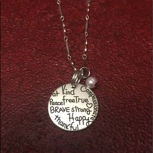 """Uplifting pendant necklace silver tone 18"""""""